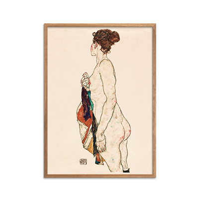 Standing Nude woman with a Patterned Robe