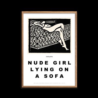 Nude girl lying on a sofa