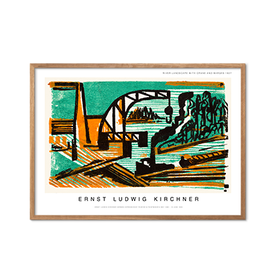 River landscape with crane and barges